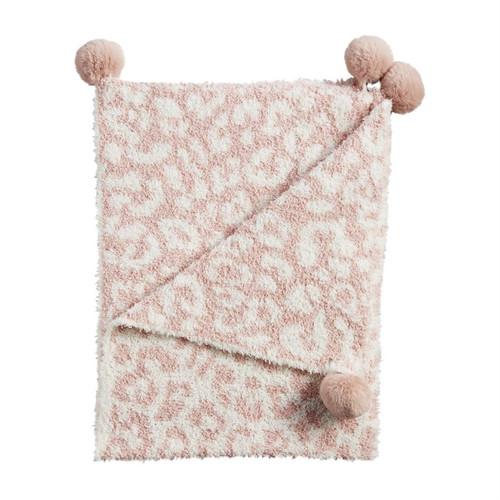Pink Chenille Leopard Blanket