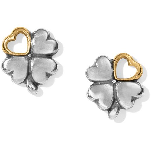 Clover Heart Mini Post Earrings