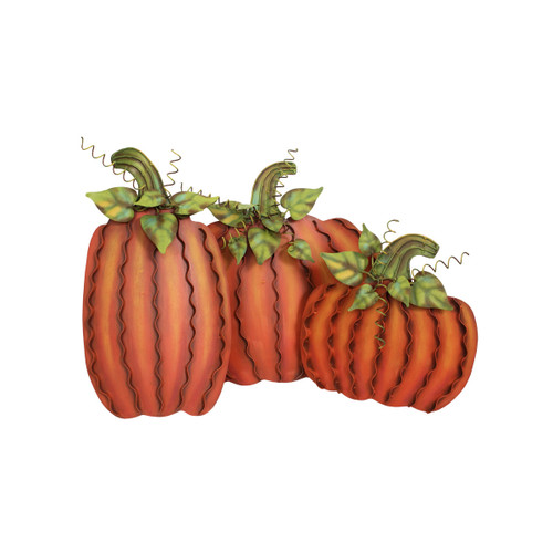 Medium Orange Metal Pumpkin