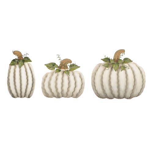 Medium White Metal Pumpkin