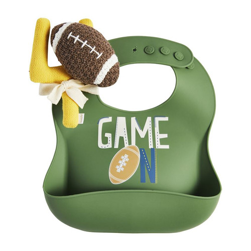 Football Silicone Bib And Rattle