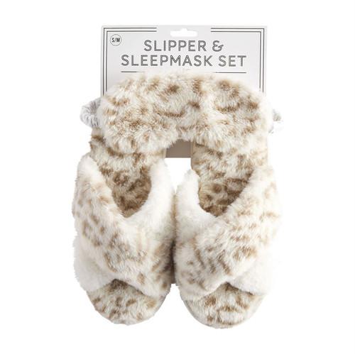 S/M Cream Leopard Slipper Mask Set