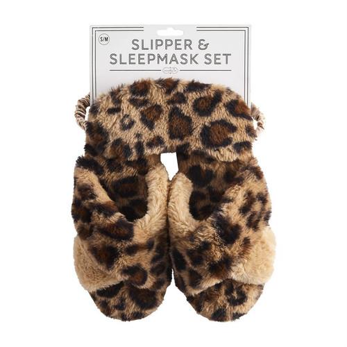 L/XL Tan Leopard Slipper Mask