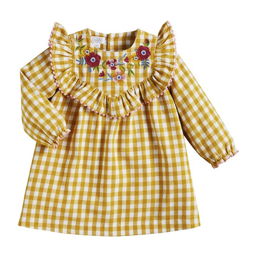4T Gingham Embroidered Dress