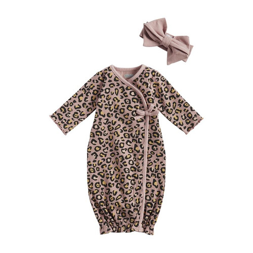 Mauve Leopard Gown and Headband