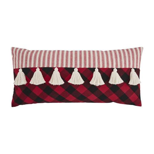 Lumbar Tassel Check Pillow