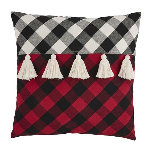 Square Tassel Check Pillow