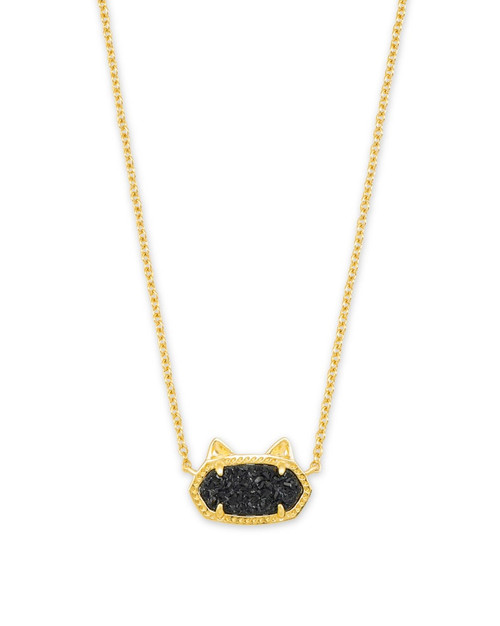 Elisa Black Drusy Cat Necklace