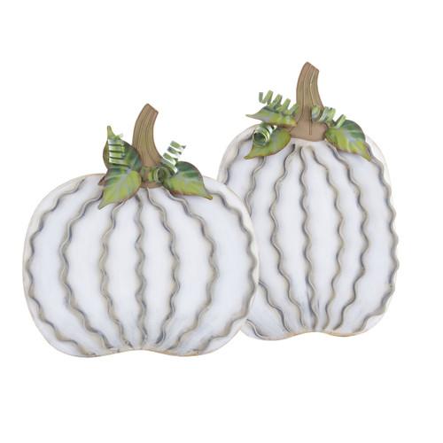 Extra Large White Metal Pumpkin