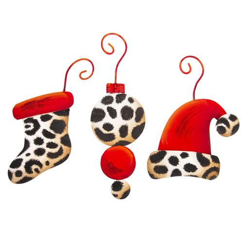 Metal Leopard Ornaments Asst 3