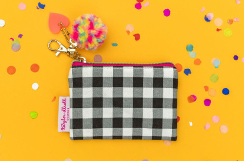 Black Gingham Card Holder Keychain Pouch