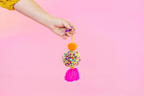 Orange Multi Pink 2 Pom Keychain