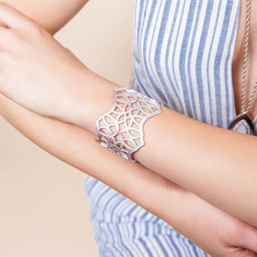 Believer Silver Cross Cuff Bracelet