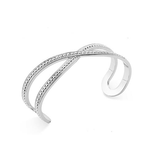 Beaded Cuff Silver Bracelet