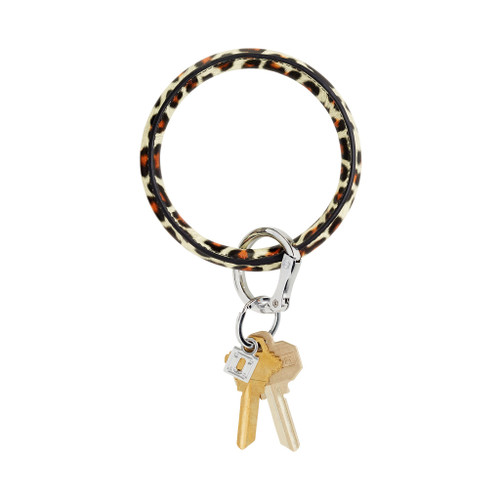 Cheetah Big O Leather Key Ring