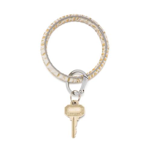 Gold Rush Croc Big O Leather Key Ring