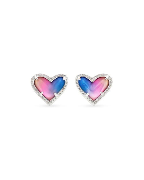 Ari Heart Silver Watercolor Illusion Earring