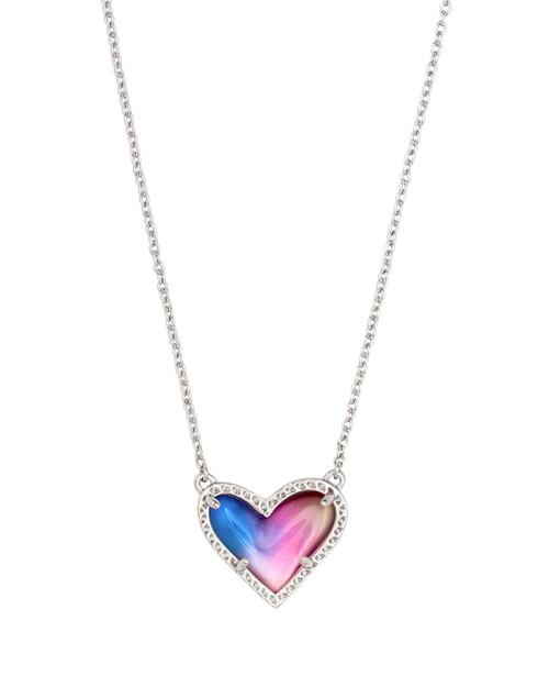 Ari Heart Silver Watercolor Illusion Necklace