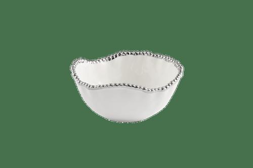 Medium White & Silver Salad Bowl