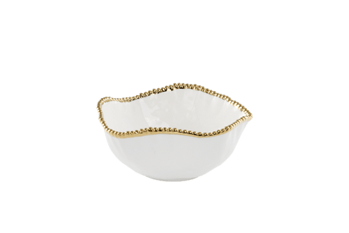 Large Salad Bowl White & Gold