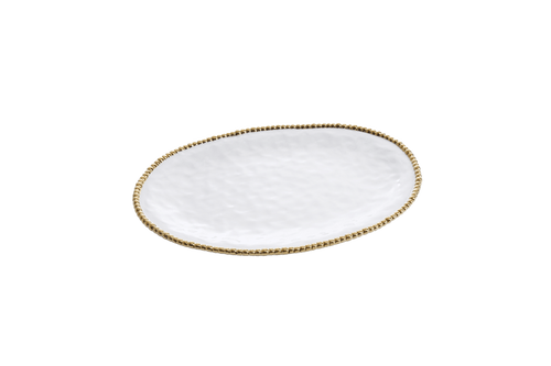 Large Oval  White & Gold Platter