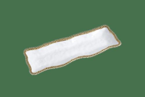 Rectangular White & Gold Serving Piece