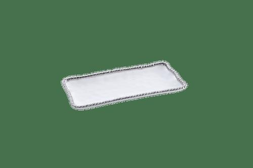 Small White & Silver Rectangular Tray
