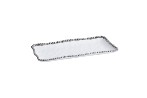 Medium Rectangular Tray White & Silver