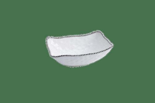 Deep Serving Bowl White & Silver