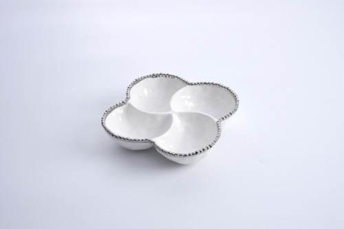 4 Section Bowl White & Silver