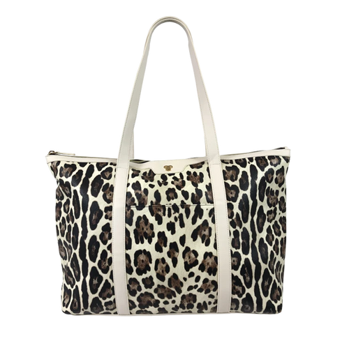 Cream Leopard Getaway Tote