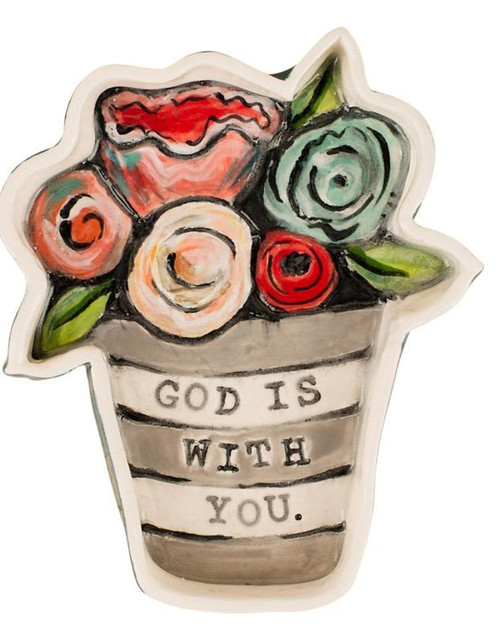 God Is With You Flower Dish