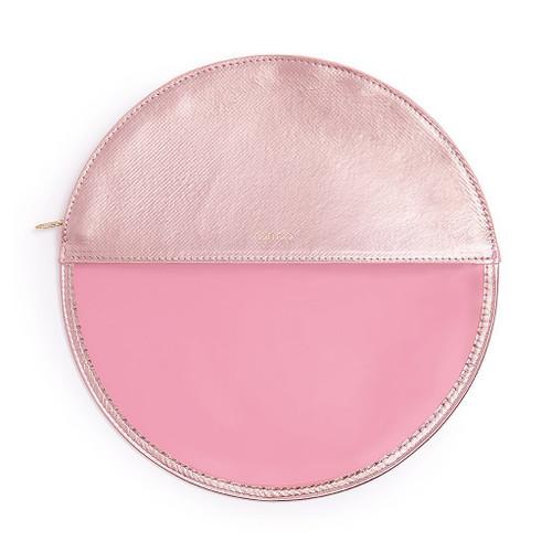 Peekaboo Circle Clutch Metallic Pink