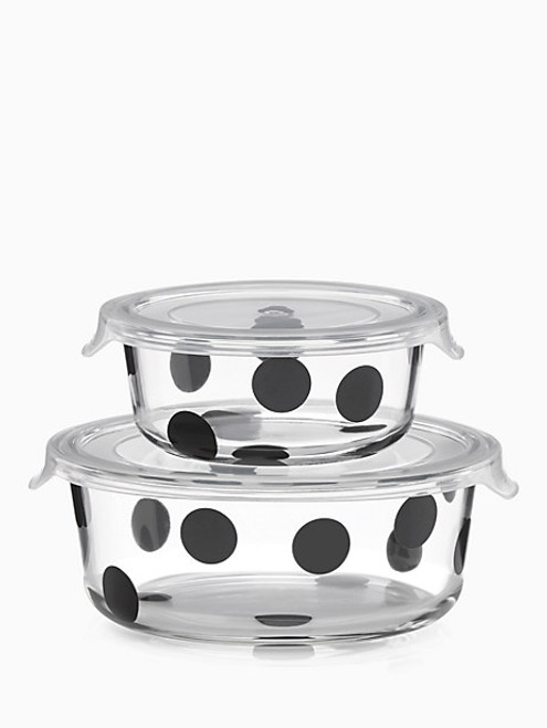 Deco Dot Round Dish With Lid Set