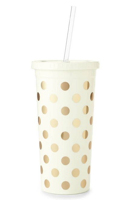 Gold Dot Tumbler with Straw