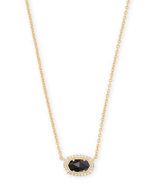 Chelsea Necklace Gold Black CZ