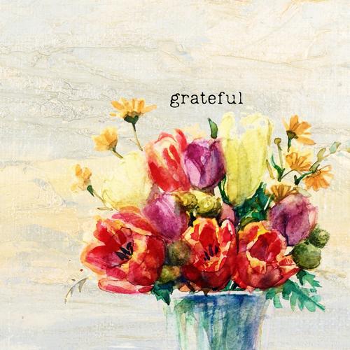 Grateful Floral 12x12 Canvas