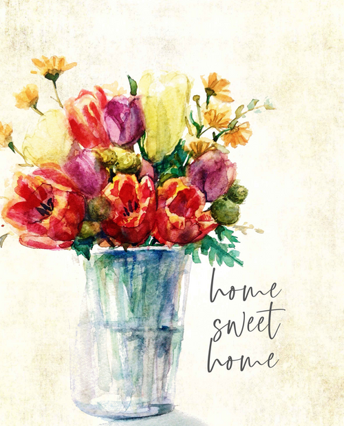 Home Sweet Home Floral 18x24 Canvas