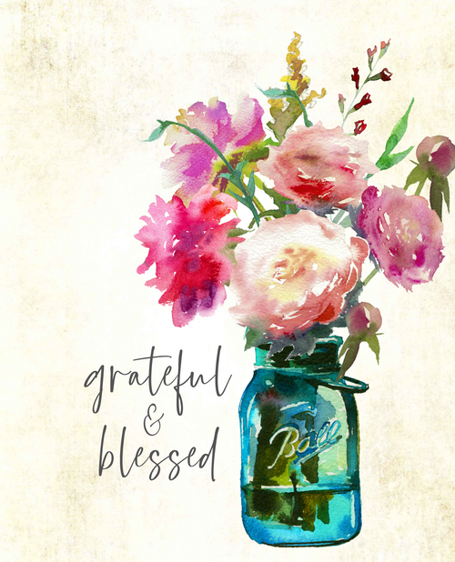 Grateful Blessed Floral 24x36  Canvas