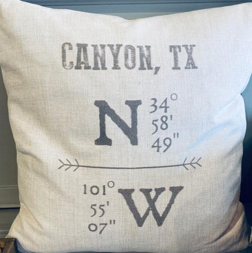 Canyon Lat/Long Pillow