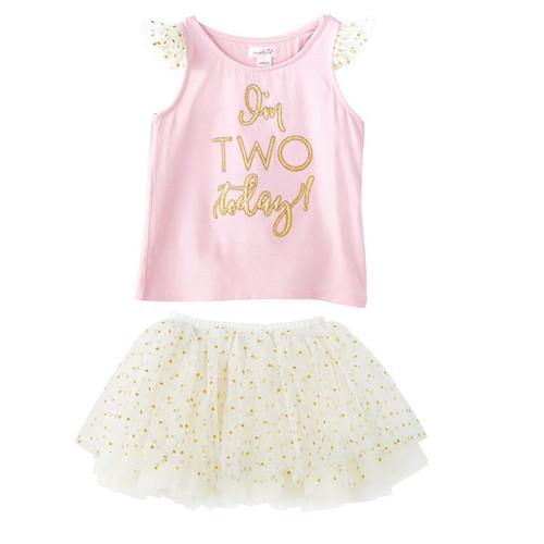 Two Birthday Tutu Skirt Set 2T