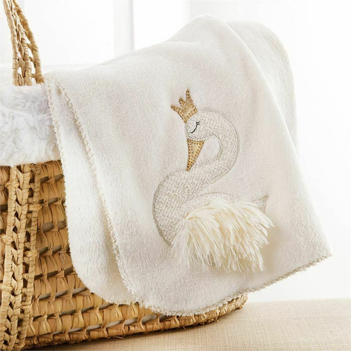 """So-soft fleece blanket features gold lurex binding stitch and textured lurex swan applique with metallic linen crown and beak and faux shaggy fur body. Size:  34"""" x 28"""" MACHINE WASH COLD WITH LIKE COLORS DO NOT BLEACH TUMBLE DRY LOW"""