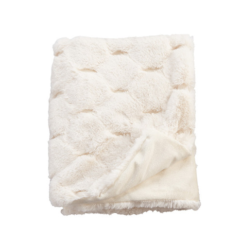 Ivory Fur Honeycomb Blanket