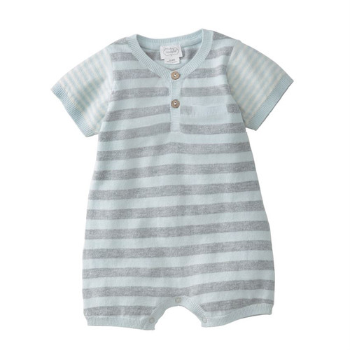 Blue Stripe Knitted Romper 3-6m