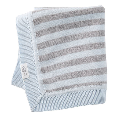 Blue Grey Striped Knit Blanket