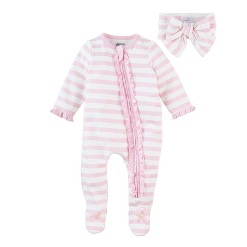 Pink Stripe Sleeper Headband Set 0-3m