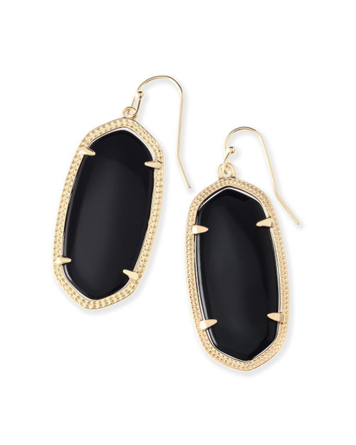 Elle Earring Black with Gold Metal