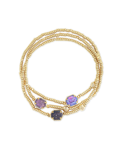 Tomon Bracelet Set Gold Purple Mix