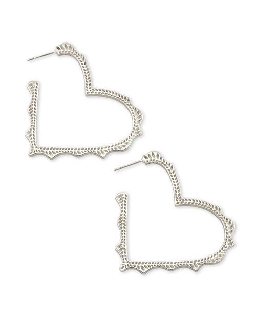 Sophee Heart Hoop Silver Earring
