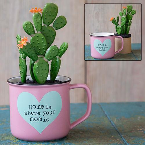 Home Mom Mug With Succulent